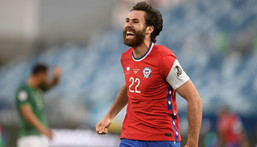 English-born Ben Brereton scored his first goal for Chile in only his second appearance after switching allegiance from England Creator: Douglas MAGNO