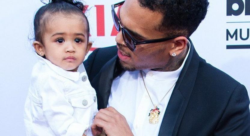 Chris Brown and daughter Royalty at 2015 BBMA