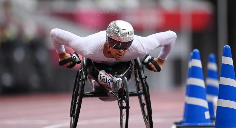 Marcel Hug of Team Switzerland during the men's marathon T52 at the 2020 Tokyo Paralympics.