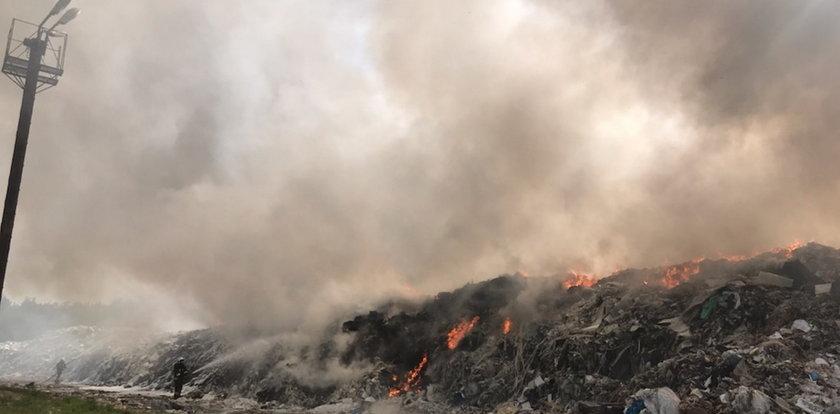 Płonie składowisko odpadów. W akcji bierze udział ponad stu strażaków