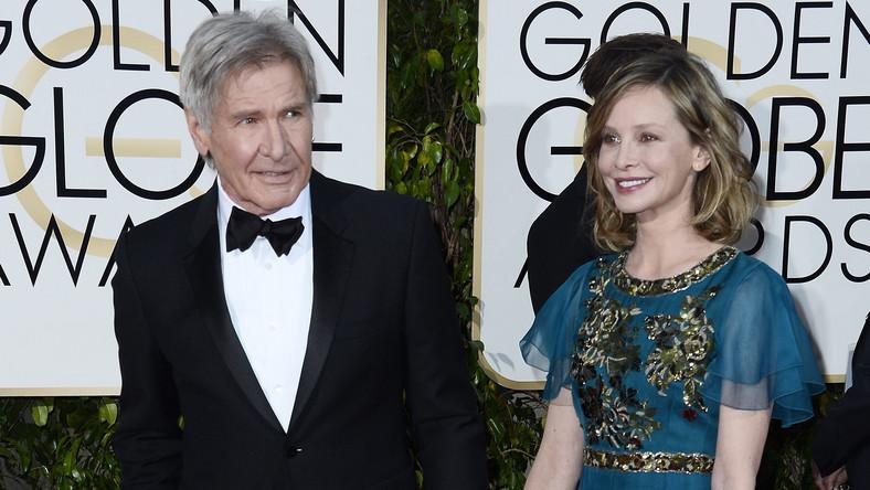 """""""Najbardziej kasowy"""" Harrison Ford i jego żona Callista Flockhart na gali Złotych Globów"""