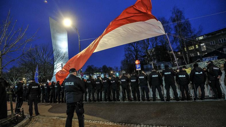 Policja na miejscu protestów 8 grudnia w Warszawie