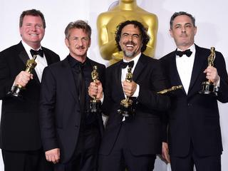 James W. Skotchdopole, presenter Sean Penn, Alejandro G. Inarritu and John Lesher