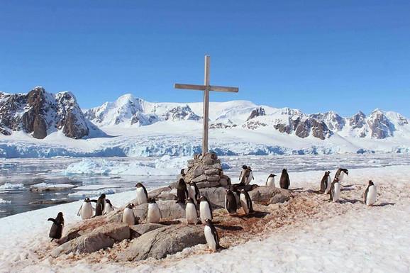 Pingvini na crvenom snegu