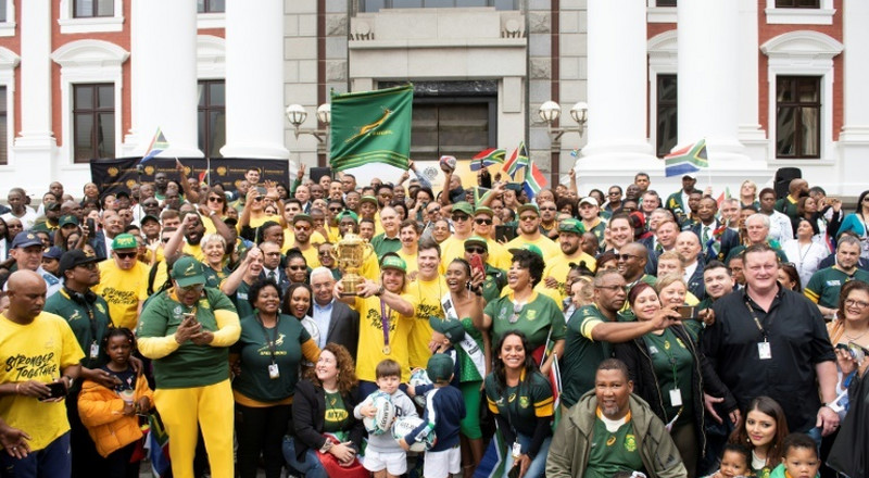 Springboks celebrate victory at legendary Mandela site