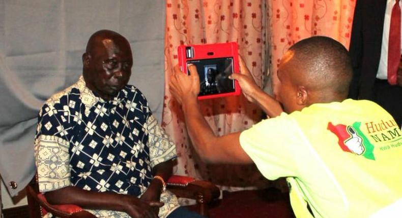Former President Mzee Moi registers for Huduma Namba at his Kabarnet Gardens home in Nairobi