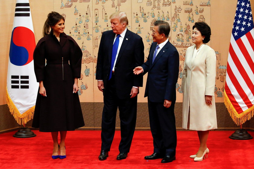 Moon welcomes Trump at the Blue House in Seoul, South Korea