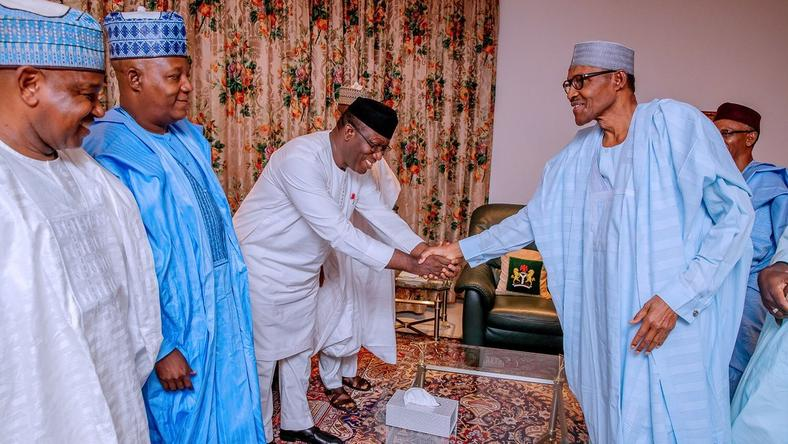 7 APC governors meet with president Muhammadu Buhari [Twitter/@NGRPresident]