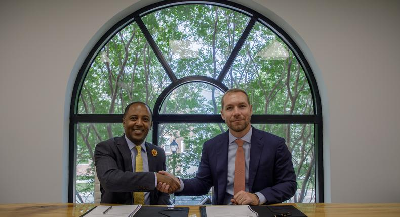 Zekarias Amsalu, Founder and Managing Director of IBEX Frontier LLC, and Leland Rice, CEO of Dedalus Global LLC, signing an MoU to jointly organise and execute the Africa Fintech Summit in Addis Ababa on November 21, 2019.