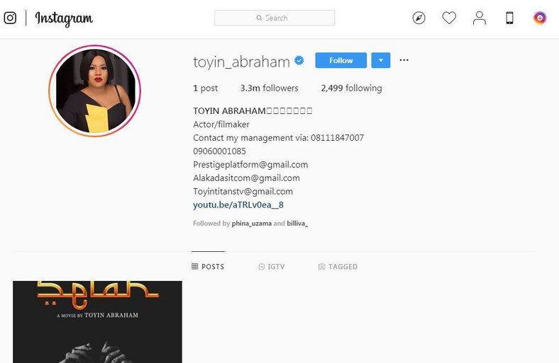 Before her decision to take down all her photos, Toyin had one of the most beautiful and active Instagram pages with over 3.3 million followers. [Instagram/ToyinAimakhu]