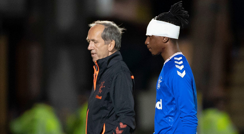 Super Eagles midfielder Joe Aribo sustains a head injury during Rangers' Scottish Cup win