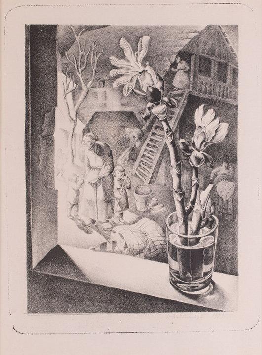 """Wystawa i aukcja """"Grafika artystyczna. Sztuka Dawna"""". Leonia Nadelman (Janecka), """"Widok z okna. Gałązka kasztanowca"""" (1928)"""