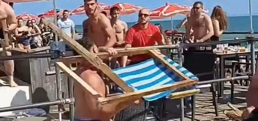 Awantura na plaży. W ruch poszły leżaki i szklane butelki. FILM