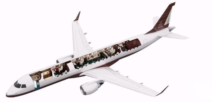 Na pokładzie samolotu można wydzielić pięć różnych stref.