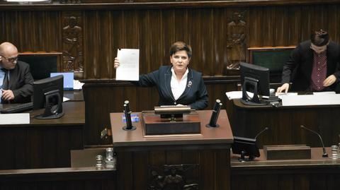 Premier Beata Szydło podczas debaty nt. obniżenia wieku emerytalnego