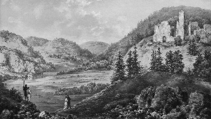 Zamek w Rożnowie, rycinaNapoleona Ordy, XIX w.