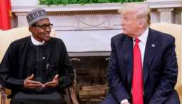 President Muhammadu Buhari and President Donald Trump at a bilateral meeting in the White House on April 30, 2018 [Twitter/@MBuhari]
