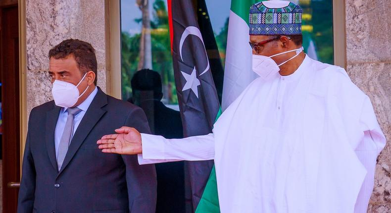 President Muhammadu Buhari hosts the Prime Minister of the Libyan Government of National Unity, Abdul Hamid Dbeibeh at Aso Rock. [Presidency]