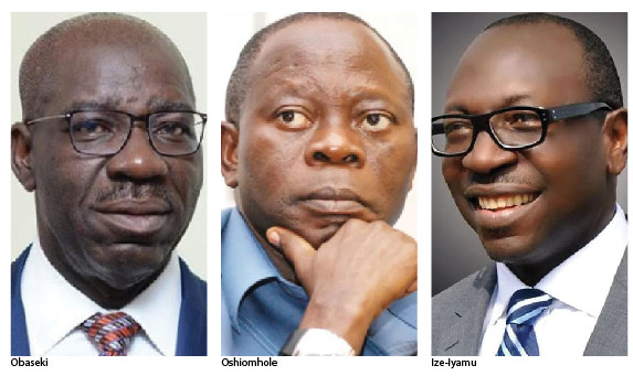 From Left: Political Actors in Edo State, Governor Godwin Obaseki, former governor of the state, Adams Oshiomhole and APC Governorship candidate, Pastor Osagie Ize-Iyamu. (Leadership)