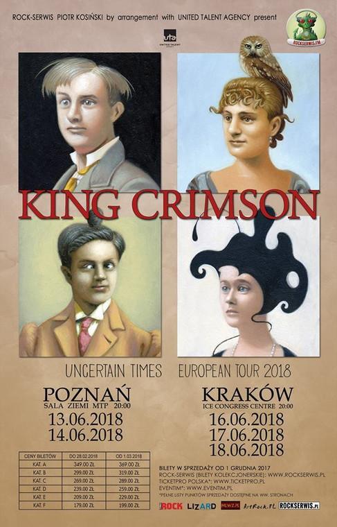 Plakat polskich koncertów King Crimson