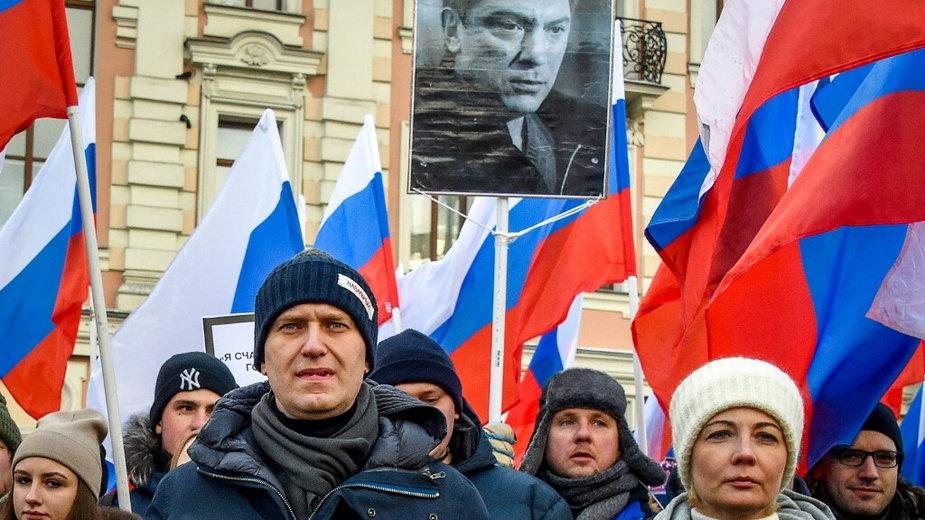 Aleksiej Nawalny z żoną na demonstracji ku pamięci Borisa Niemcowa