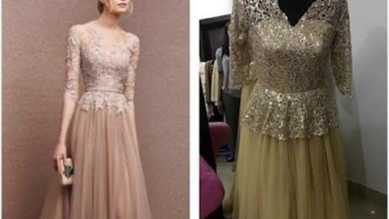An aggrieved customer shared photos of an outfit a friend wanted (L) and what she got from a Nigerian designer (R)