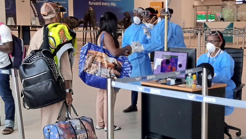 Illustrative photo of health officials screening for coronavirus at Kotoka Airport in Ghana (AFP)