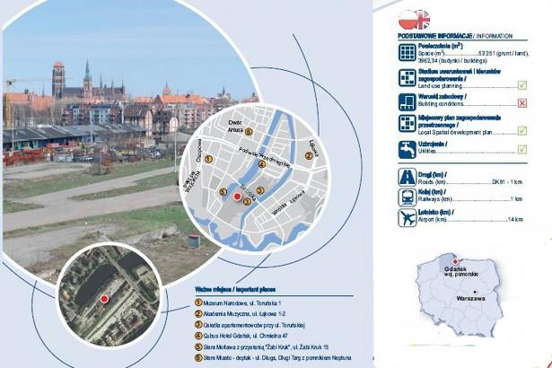 Gdańsk, ul. Toruńska 16 – PKP wystawia tu na sprzedaż ponad 5 hektarów (53 251 mkw.) zabudowanej działki w samym sercu miasta, w południowej części słynnej zabytkowej Wyspy Spichrzów, nad rzeką Motławą. Nieopodal znajduje się starówka i m.in. Muzeum Narodowe. Położenie zapewnia łatwy dostęp do zaplecza kulturalnego, handlowego i bazy gastronomicznej miasta oraz jego głównych arterii komunikacyjnych. Na sąsiedniej działce, przy ul. Toruńskiej, powstaje osiedle luksusowych apartamentowców. To wymarzone miejsce dla deweloperów z branży mieszkaniowej i handlowej, jak piszą PKP. Z drugiej strony to też wymarzone miejsce na rozwój strefy turystycznej i kulturalnej miasta. Powierzchnia budynku postawionego na działce wynosi ponad 3962 mkw. Zdj. Nieruchomości PKP Gdańsk, ul. Toruńska 16 - źródło: PKP