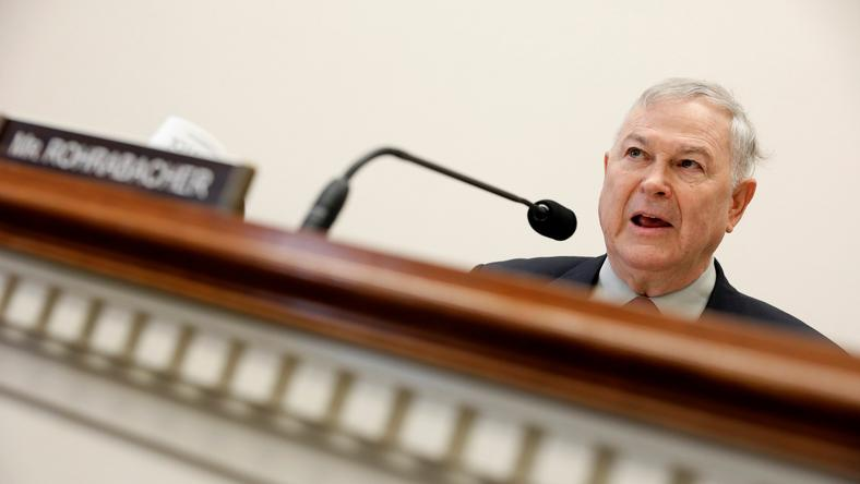 Rep. Dana Rohrabacher (R-CA) speaks during a House Foreign Affairs Europe, Eurasia and Emerging Threats Subcommittee hearing.