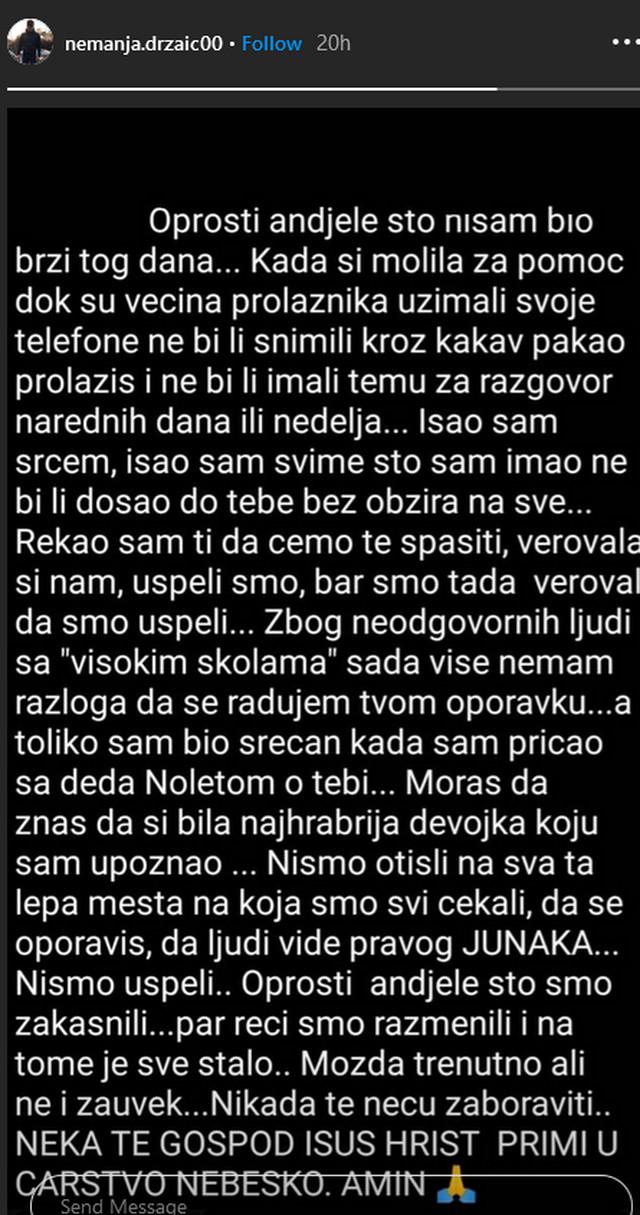 Poruka na Instagramu Nemanje Držaića