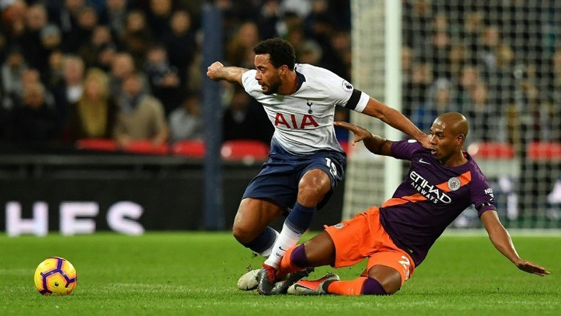 Tottenham's Belgian midfielder Mousa Dembele (left) is unlikely to feature again in 2018 due to ankle ligament damage