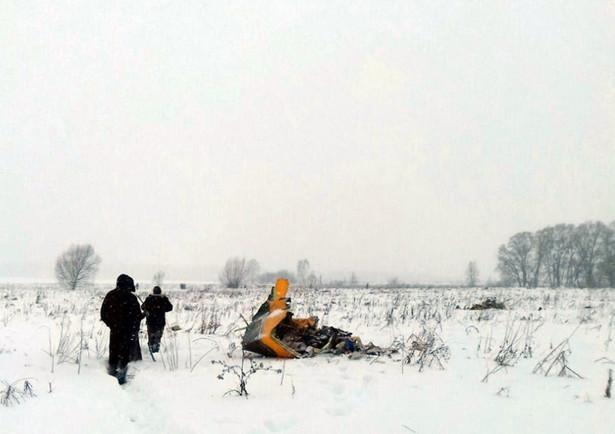 Szczątki An-148 na miejscu katastrofy
