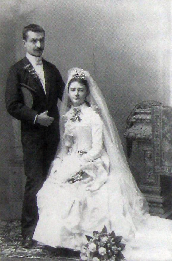 Milan Jovanović sa suprugom Darinkom na dan venčanja 1889.