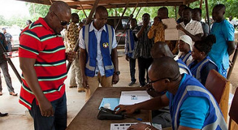 President John Mahama votes in District Assembly elections at Bole Bamboi
