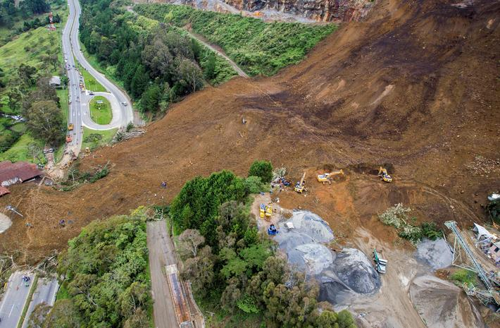 General view of a landslide that affected the Medellin-Bogota highway in Colombia