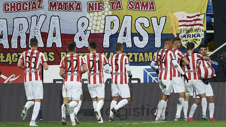 Radość piłkarzy Cracovii po zdobyciu bramki