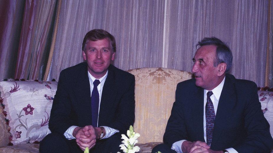 Marzec 1990, wizyta Tadeusza Mazowieckiego w USA. To wówczas premier zapowiedział pomoc w operacji przerzucenia tysięcy Żydów z ZSRR do Izraela. Na zdjęciu z wiceprezydentem USA Danem Quaylem