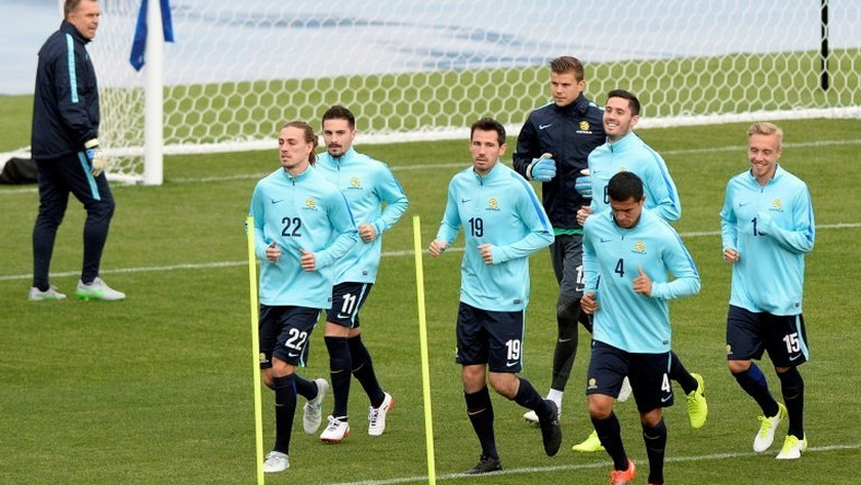 Australian footballers take part in a training session in Saint Petersburg in Russia, during the 2017 Confederations Cup tournament