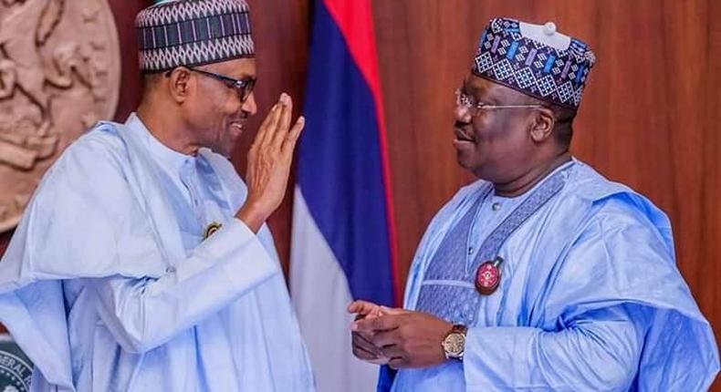 President Muhammadu Buhari and President of the Senate, Dr. Ahmad Lawan. [Twitter/@SPNigeria]