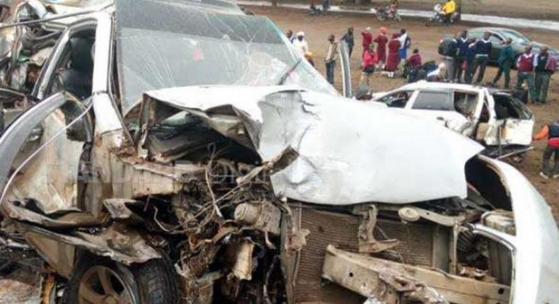 A file photo of a car wreckage in an accident. 5 dead after two 14-seater matatus collide head-on along Embu-Meru highway
