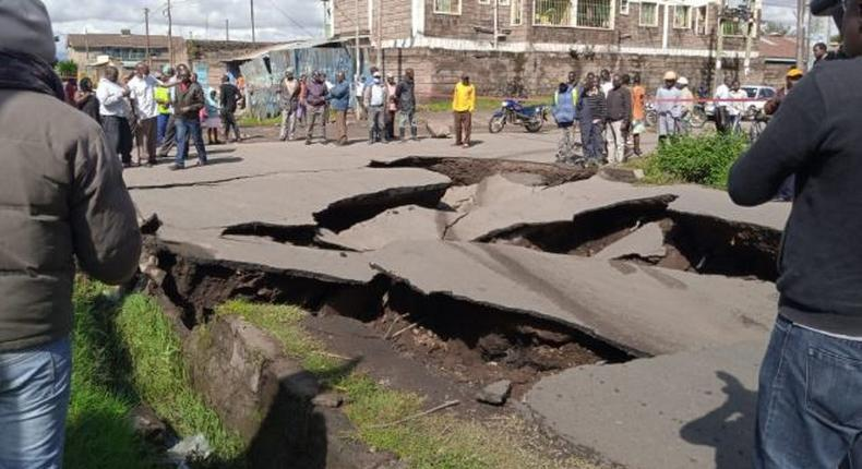 File image of a collapsed road. Nakuru residents warned against using this road