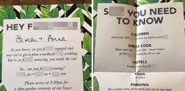 Dostali takie zaproszenia na ślub. O ile zakład, że nikt nie przyjdzie?