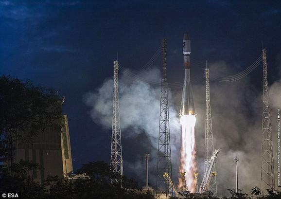 Nedavno lansiranje rakete Sojuz koja je ponela dva evropska satelita u orbitu