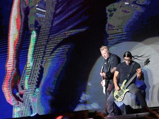 James Hetfield and Robert Trujillo of Metallica perform at Lollapalooza music festival, in Santiago,