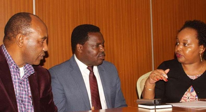 Governors Francis Kimemia (L), Muthomi Njuki (C) and Anne Waiguru (R) during a past meeting