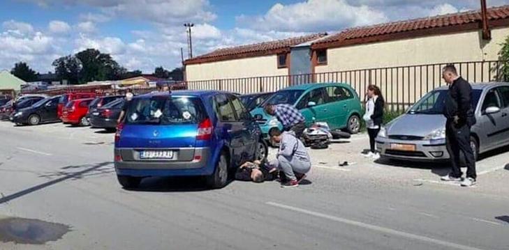 A balesetről készült fotó: Antun a kocsi alatt fekszik, itt még nem tudta, hogy lebénult