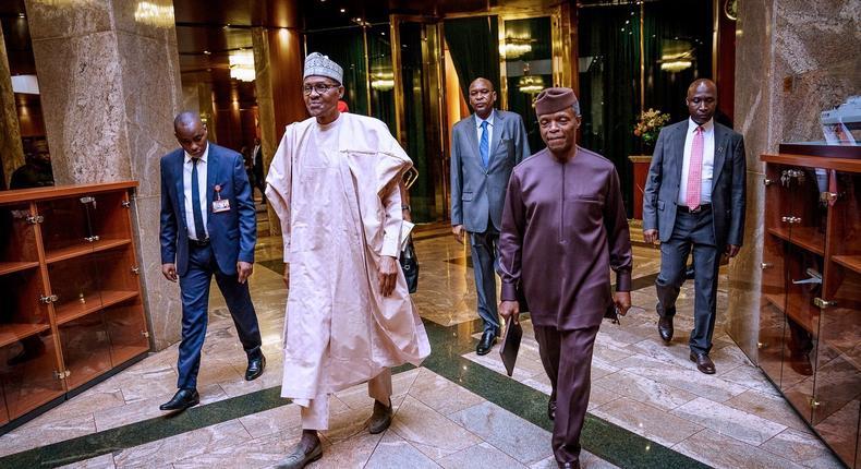 President Muhammadu Buhari and Vice President Yemi Osinbajo receive the APC National Working Committee in Aso Rock [Twitter/@NGRPresident]