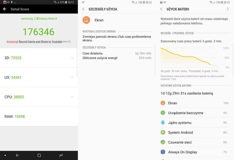 Samsung Galaxy Note 8 - AnTuTu Benchmark, czas pracy na baterii