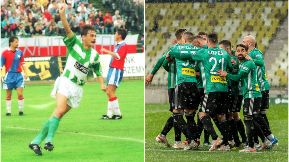 Maciej Śliwowski w meczu Wisła - Legia (1993) oraz radość ekipy Legii Warszawa (2021) (fot. Mieczysław Świderski/ Mateusz Słodkowski/ Newspix)