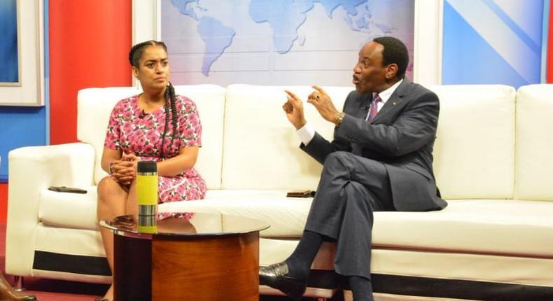 Nairobi Woman Rep Esther Passaris with KFCB CEO Ezekiel Mutua during an interview on KTN (Twitter)